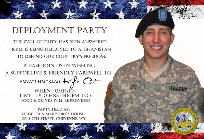 Pretty Witty Designs Military Invites for overseas customers – Deployment Party Invitations