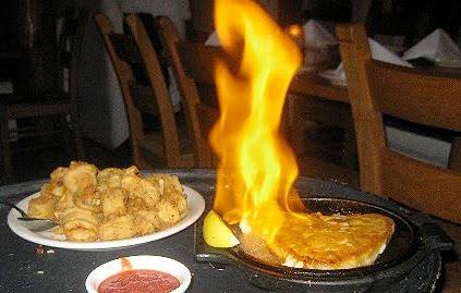 flaming greek cheese gif