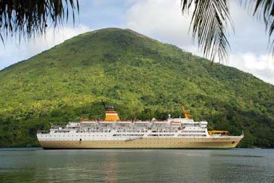 A Ship Cross the Gunung Api Banda