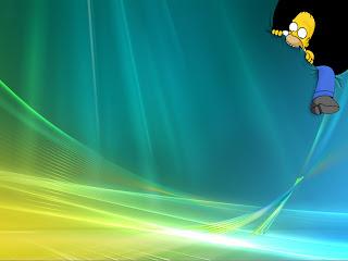 Homer eating Windows Vista 7 xp wallpaper