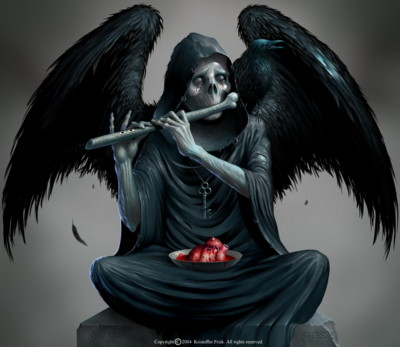 Death playing a phallic flute.