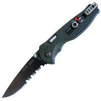 SOG Flash II Knife, Black Zytel Handle, TiNi Black Blade, ComboEdge