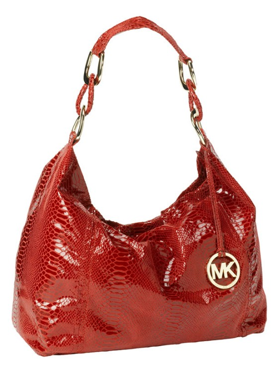 Michael Michael Kors Oversized Id Chain Shoulder Bag Black Python 19