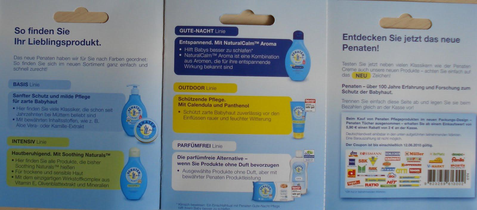 Penaten 3€ Sparcoupon beim Kauf von 3 Produkten im Wert von 5,90 ...