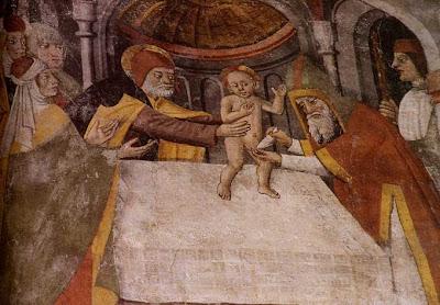 La Circoncision de Jésus (fresque de Jean Canavero, XVe siècle, église Notre-Dame-des-Fontaines
