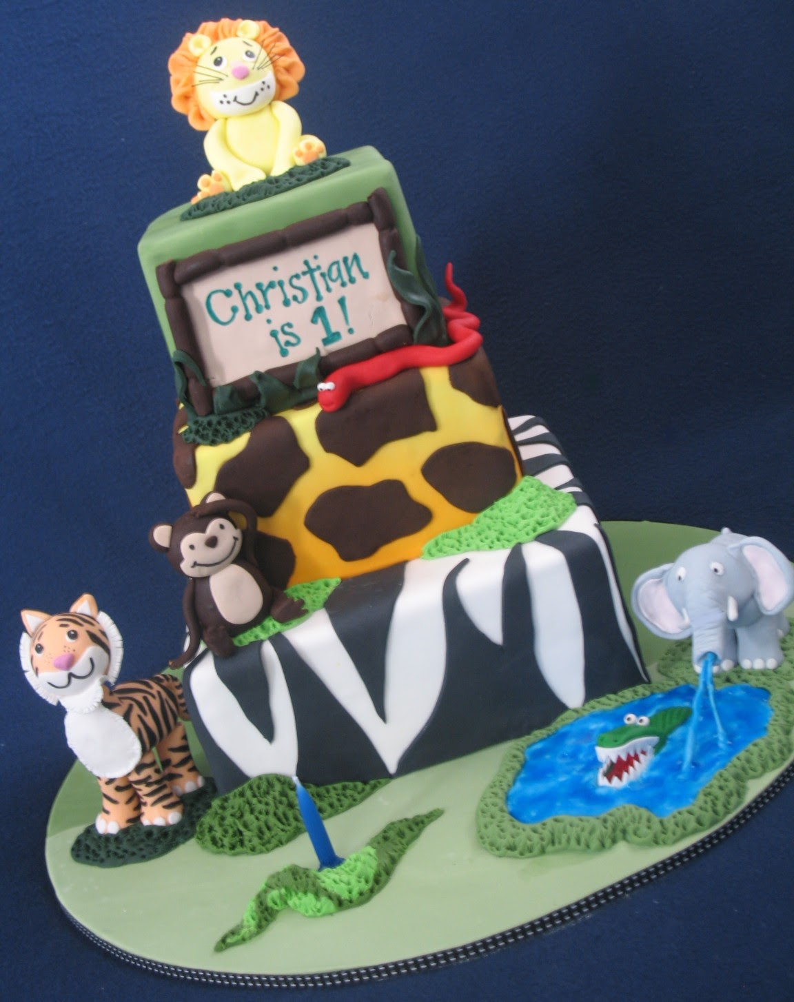 Blissfully Sweet A Jungle Themed 1st Birthday Cake for a Lion King