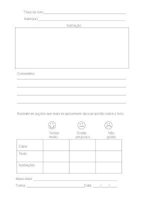 Modelo De Ficha De Leitura Simplificado Usado Na Biblioteca Da Escola