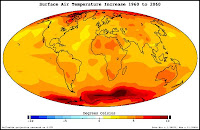 Predicted surface air temperature increase 1960-2060. Image Courtesy: NASA
