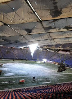 Metrodome Roof Collapse - Inside View