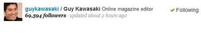 guy kawasaki twitter follower