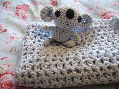 Crochet Baby Blanket Cotton Pattern : GWI: Crocheted Cotton Baby Blanket & little Friend (With ...