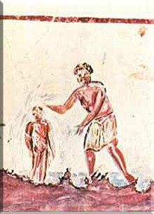 Pintura de un bautizo presente en la catacumba de San Calisto.