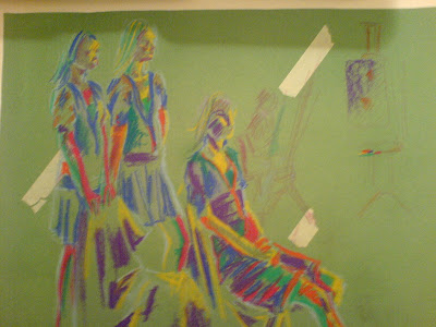 burst of colours on green paper