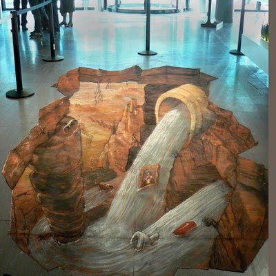 Sewage on the floor illusion 3d chalk drawing for Floor illusions