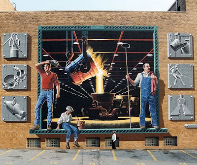 Steel Factory 3D Chalk Drawing