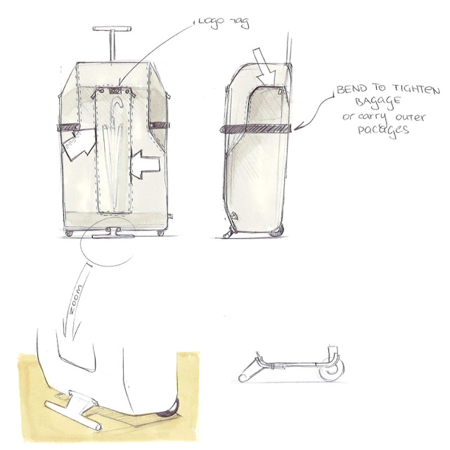 Wheeled luggage design sketch 4
