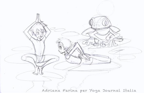 Disegno e acquerello per baby yoga: rane