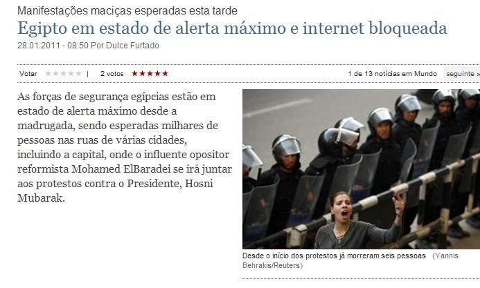 Egipto : Internet desligada