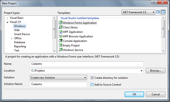 Criar aplicação Windows forms