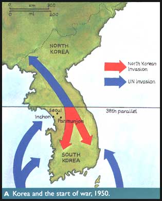 History Chat The Korean War 19501953 - 38th Parallel Us Map