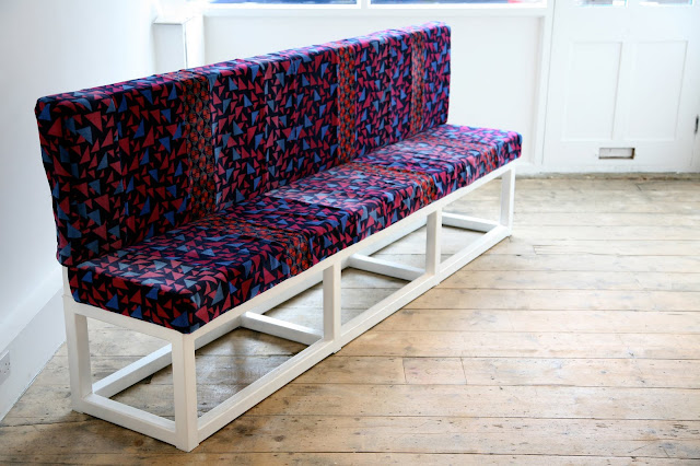Bench, 2008, Recliamed London Underground Seat Fabric, Steel, Plywood, foam