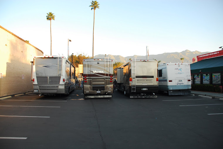 Four RVs Parked on Colorado Blvd. (view from back)