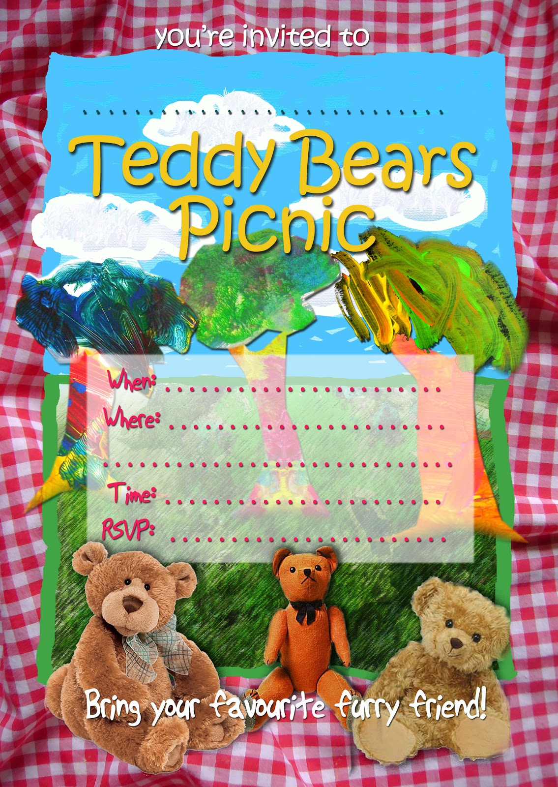 Free kids party invitations teddy bears picnic invitation teddy bears picnic invitation filmwisefo