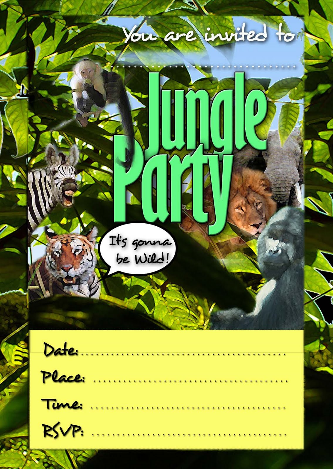 FREE Kids Party Invitations: Jungle Invitation