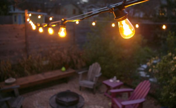 backyard string lights and flowers home design elements