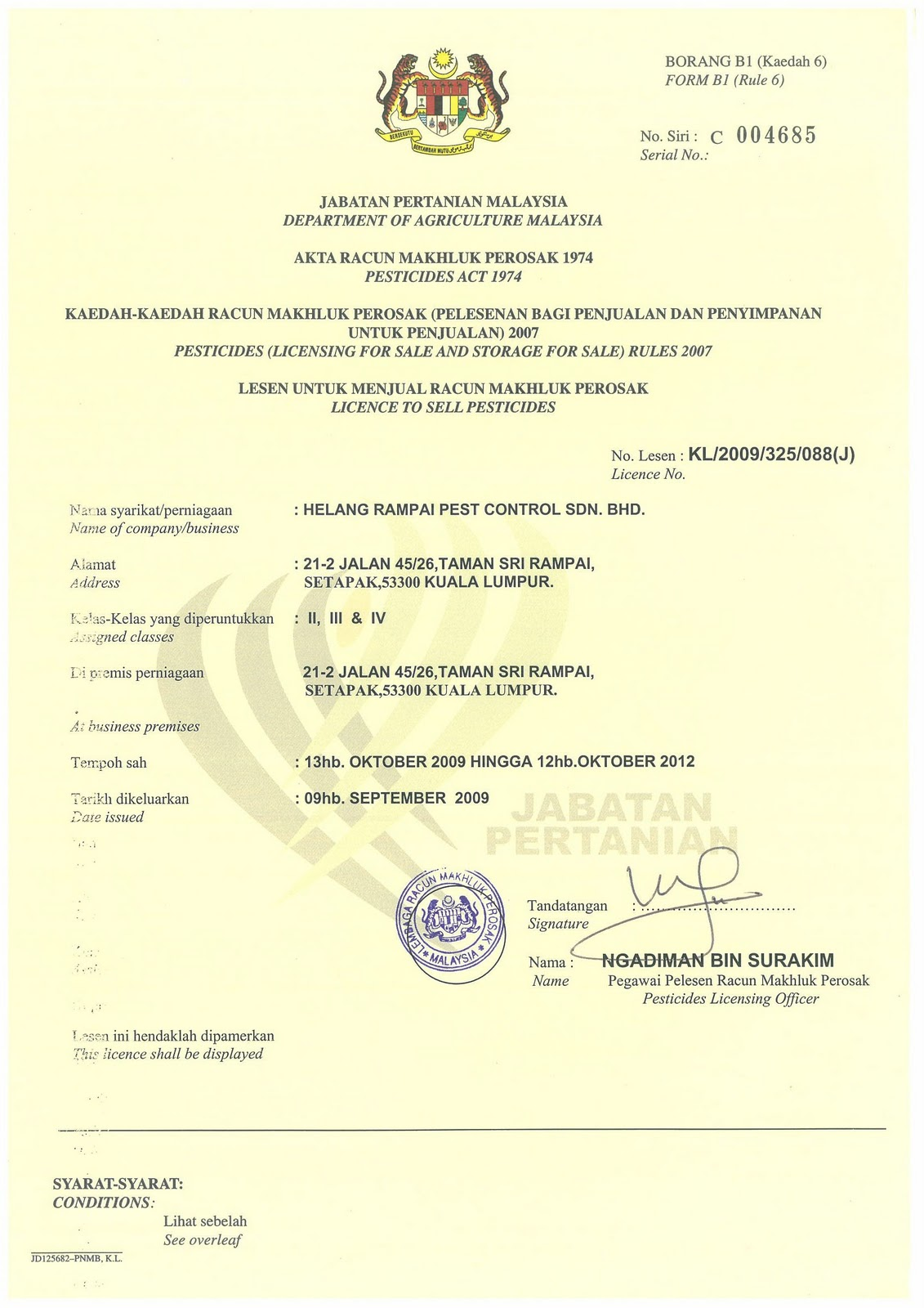Helang rampai pest control sdn bhd profile certification by the pesticide board of malaysia 1betcityfo Image collections