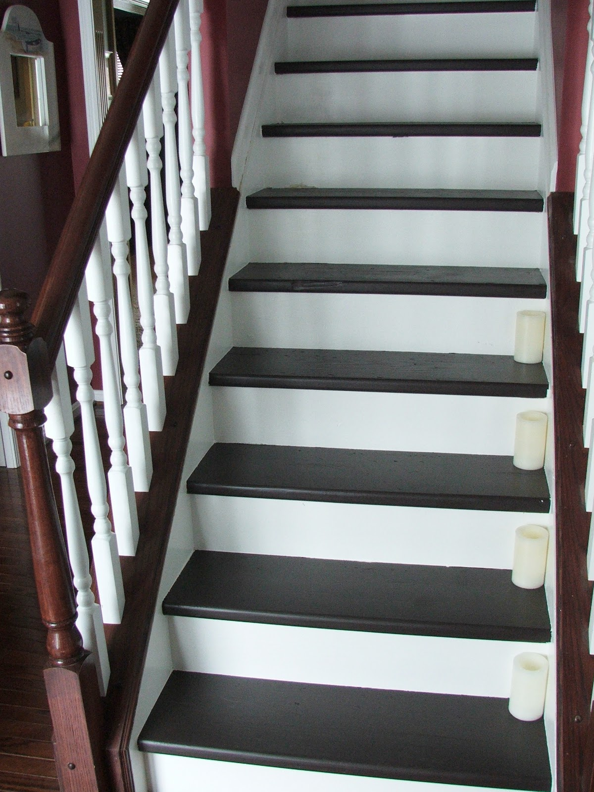 Remodelaholic under 100 carpeted stair to wooden tread for Painted stair treads