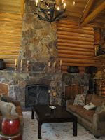 Stone Fireplace at Truckee River Luxury Real Estate