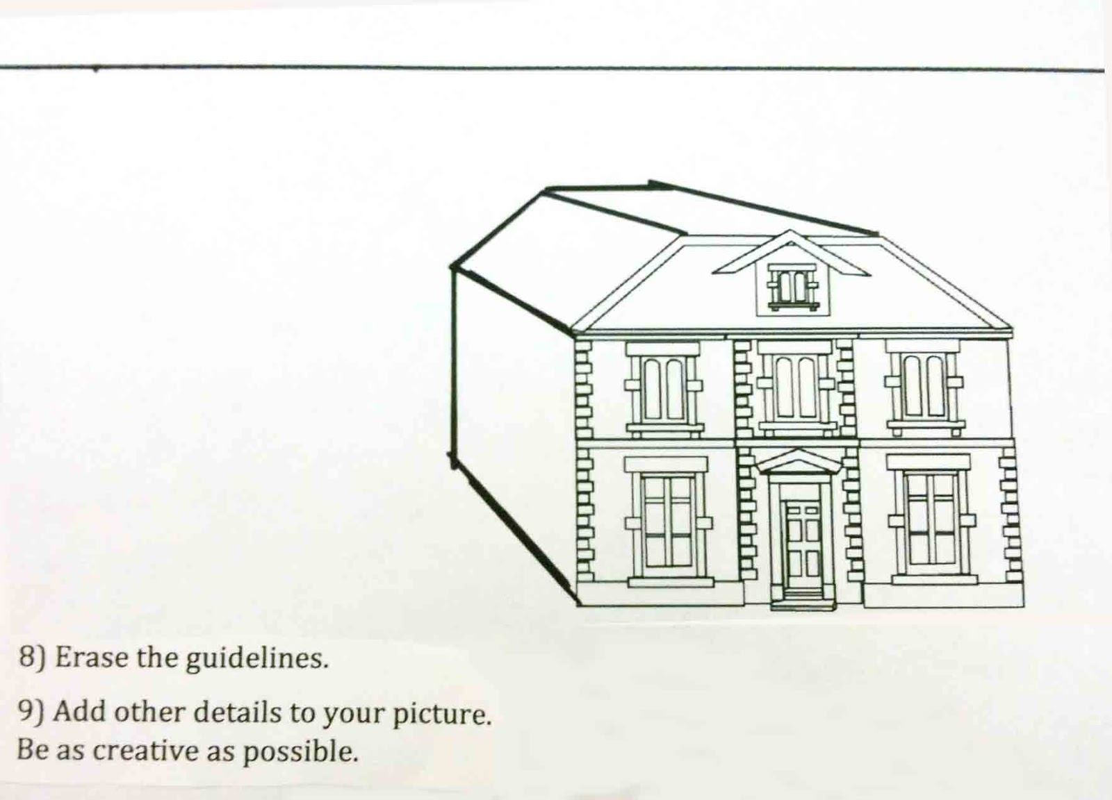 One Point Perspective House Drawing