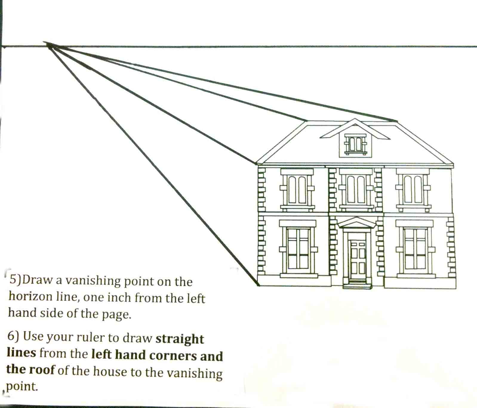 The helpful art teacher perspective drawing 101 drawing for How to draw a two story house step by step