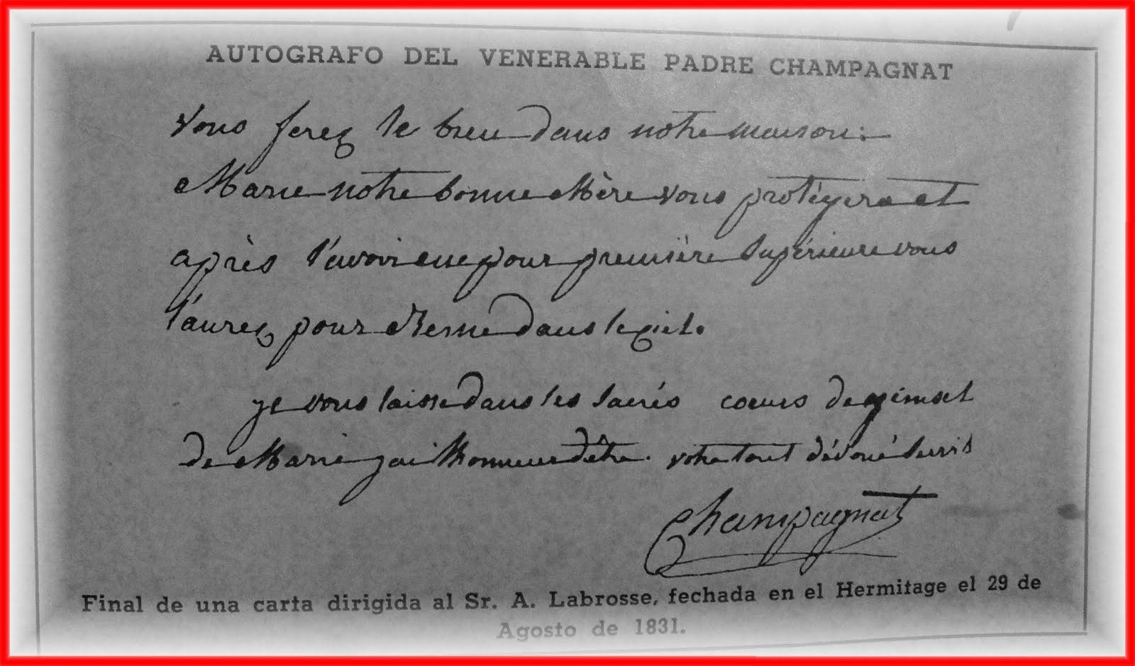 Final de una carta del Padre Marcelino Champagnat dirigida al Sr. A. Labrosse