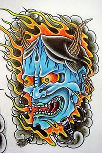 japanese mask tattoos. Japanese mask image.