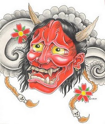 A burning japanese hannya mask tattoo T-shirt by ryurakudo. Evil Tattoo