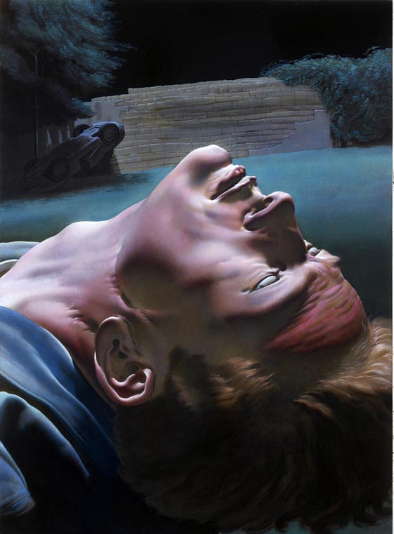 The death of james dean from a drawing by andy wahrol