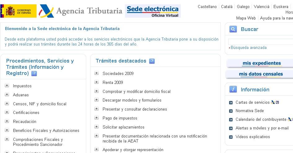 Estado de los impuestos en la aeat diferentes casos for Oficina virtual de la agencia tributaria