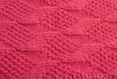 The stitch pattern is a moss stitch and diamond lozenge pattern.