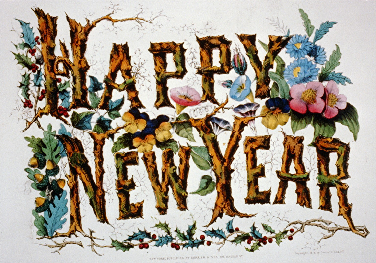 happy new year currier ives lithograph mid 19th century