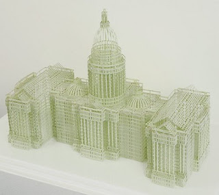 Jill Sylvia's cut ledger sculptures