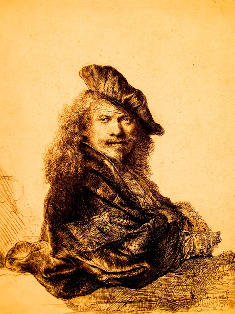 Grabado de un autorretrato de Rembrandt