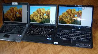 Сравнение ноутбуков Asus F5RL (слева), Lenovo E43 (в центре) и Acer eMachines E525 (справа)
