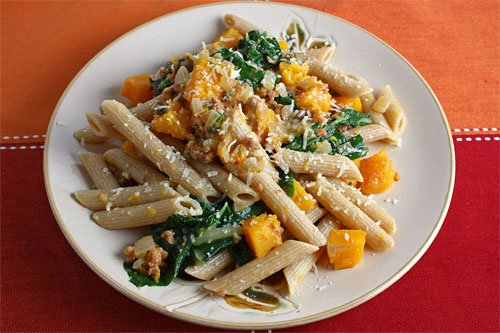 dish with butternut squash sweet italian sausage sage with penne pasta ...