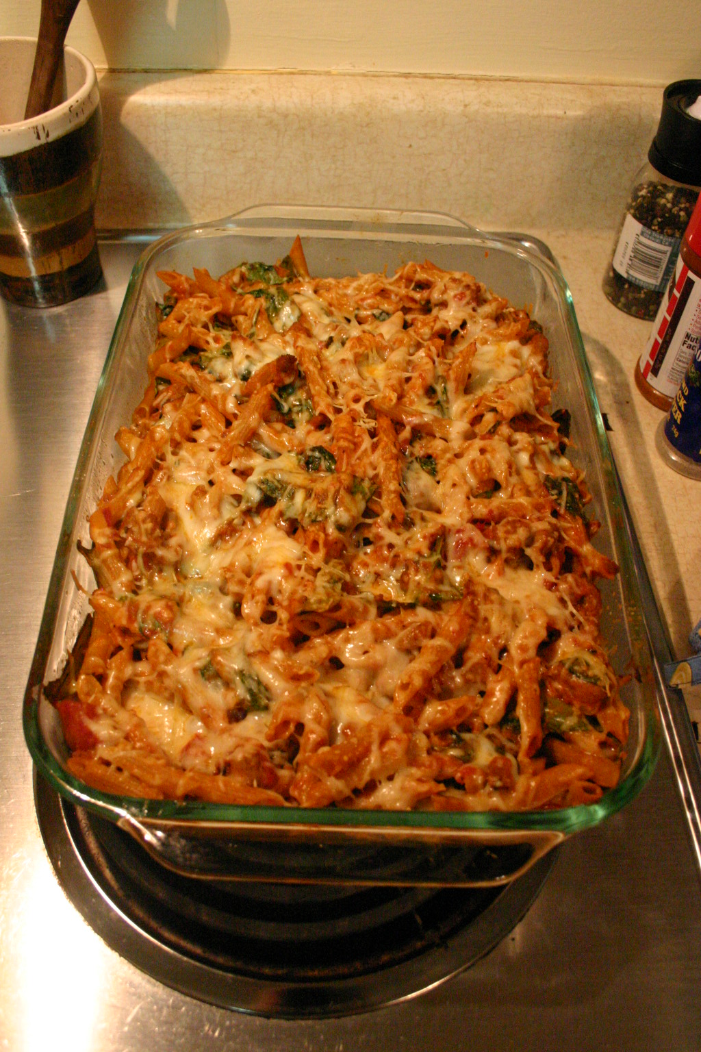 Life is Nothing without Him~: Baked Penne with Spinach & Sausage