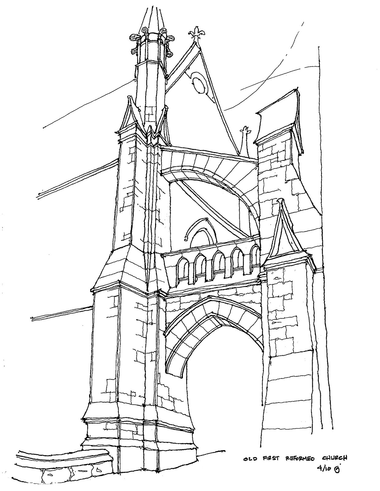 Park Slope Sketch Old First Reformed Church Buttress