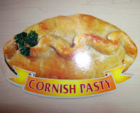 A postcard in the shape of a Cornish pasty