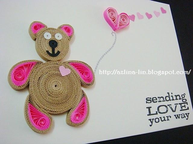 Azlina Abdul Quilled Pink Teddy Bear