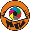 Sobre um botão na cor laranja envolto por uma linha preta, está o desenho chapado (em traço) de um olho amendoado e no lugar da íris, a simulação de um obturador de câmera fotográfica, nas cores (sentido do relógio) verde, vermelho, cinza, amarelo, magenta e ciano - ao centro um hexágono preto. Sob o desenho a sigla MIV em letras espessas.